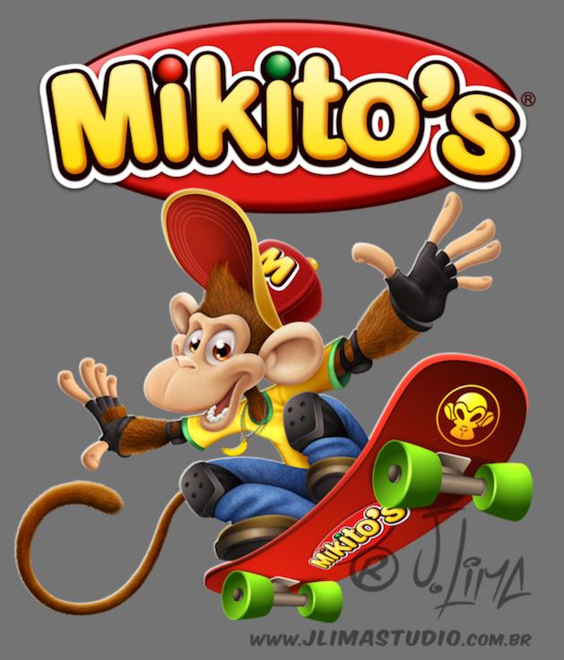 mascote personagem character mascot design monkey macaco chimpanze ximpanse zimpanze mikitos salgadinhos embalagem ilustracao desenho arte 3d jlima skate radical melhor