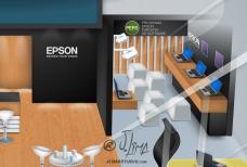 Epson stand 3D ilustração illustration desenho croqui colorido color estande tridimensional jlima j. lima empresa feira projeto design 2