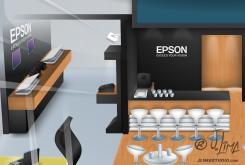 Epson stand 3D ilustração illustration desenho croqui colorido color estande tridimensional jlima j. lima empresa feira projeto design 3