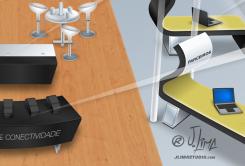 Epson stand 3D ilustração illustration desenho croqui colorido color estande tridimensional jlima j. lima empresa feira projeto design 4