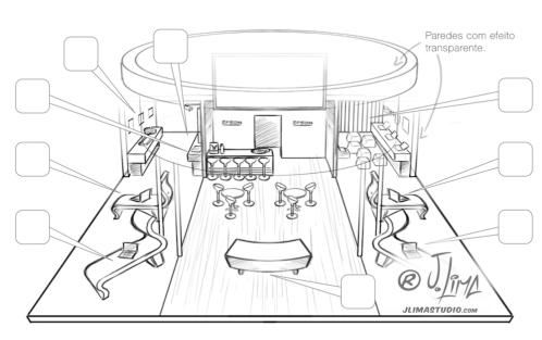 Epson stand 3D ilustração illustration desenho croqui colorido color estande tridimensional jlima j. lima empresa feira projeto design esboço sketch
