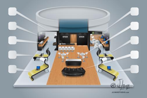 Epson stand 3D ilustração illustration desenho croqui colorido color estande tridimensional jlima j. lima empresa feira projeto design