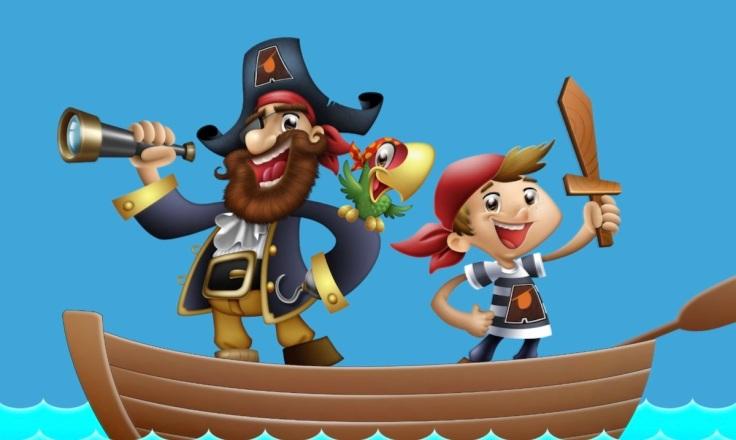 pirata pirate papagaio mascote personagem terra vista desenho ilustração jlima 3d design mascot animation animação menino boy gancho chapéu luneta piratas capitao espada madeira boy