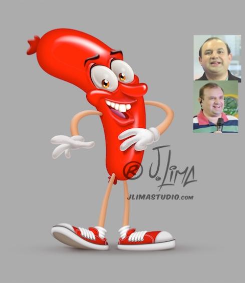 Mascote Salsicha Rac TV record parana mascote personagem design character jlima desenho ilustração concemp art arte conceito salsicha apresentador televisao programa pose foto caricatu