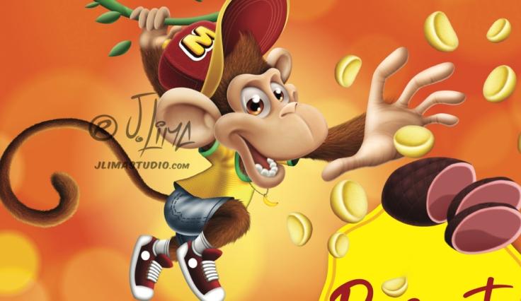 CAPA mikitos embalagem salgadinho alimentos personagem macaco bone infantil kids 3d produto mascote mascot character design j. lima jlima desenho ilustração 4