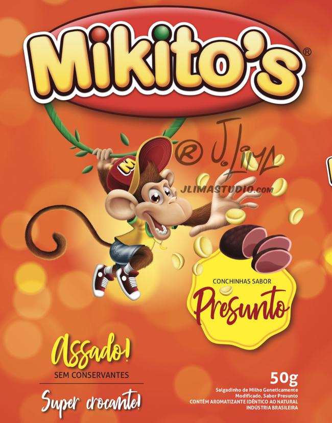 mikitos embalagem salgadinho alimentos personagem macaco bone infantil kids 3d produto mascote mascot character design j. lima jlima desenho ilustração 1