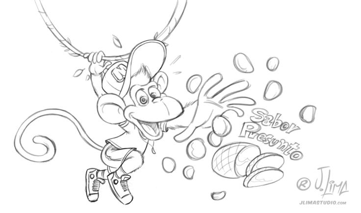 mikitos embalagem salgadinho alimentos personagem macaco bone infantil kids 3d produto mascote mascot character design j. lima jlima desenho ilustração esboço croqui rascunho sketch