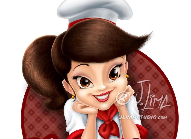 nanda cake cozinheira mascote personagem logo design character mascot menina girl mulher moça desenho ilustração concept art color 3d 2d jlima draw 1