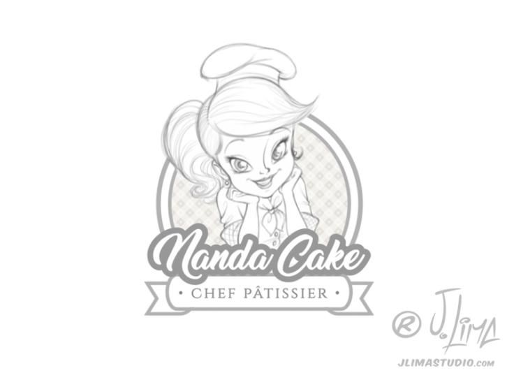nanda cake cozinheira mascote personagem logo design character mascot menina girl mulher moça desenho ilustração concept art color 3d 2d jlima draw esboço croqui sketch rascunho