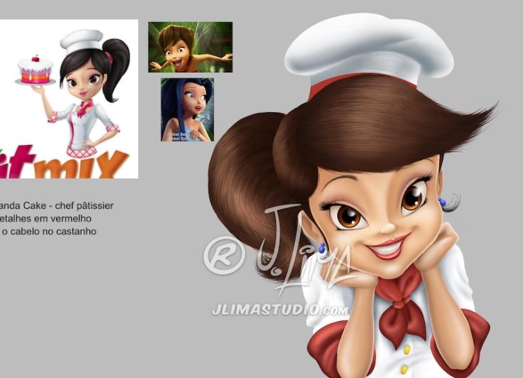 nanda cake cozinheira mascote personagem logo design character mascot menina girl mulher moça desenho ilustração concept art color 3d 2d jlima draw vetor vector modelos models referen