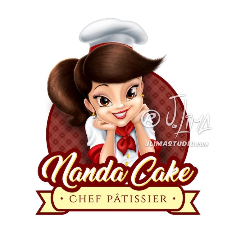 nanda cake cozinheira mascote personagem logo design character mascot menina girl mulher moça desenho ilustração concept art color 3d 2d jlima draw vetor vector