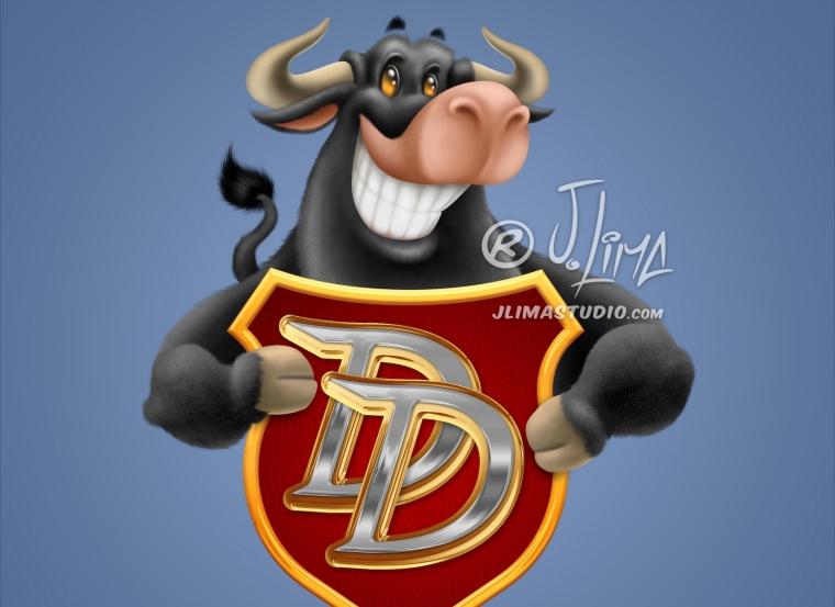 brasao-dodo touro brasao logo design jlima desenho mascote mascot personagem 3d character empresa marca ilustração imagem boi bufalo sorrindo feliz alegre