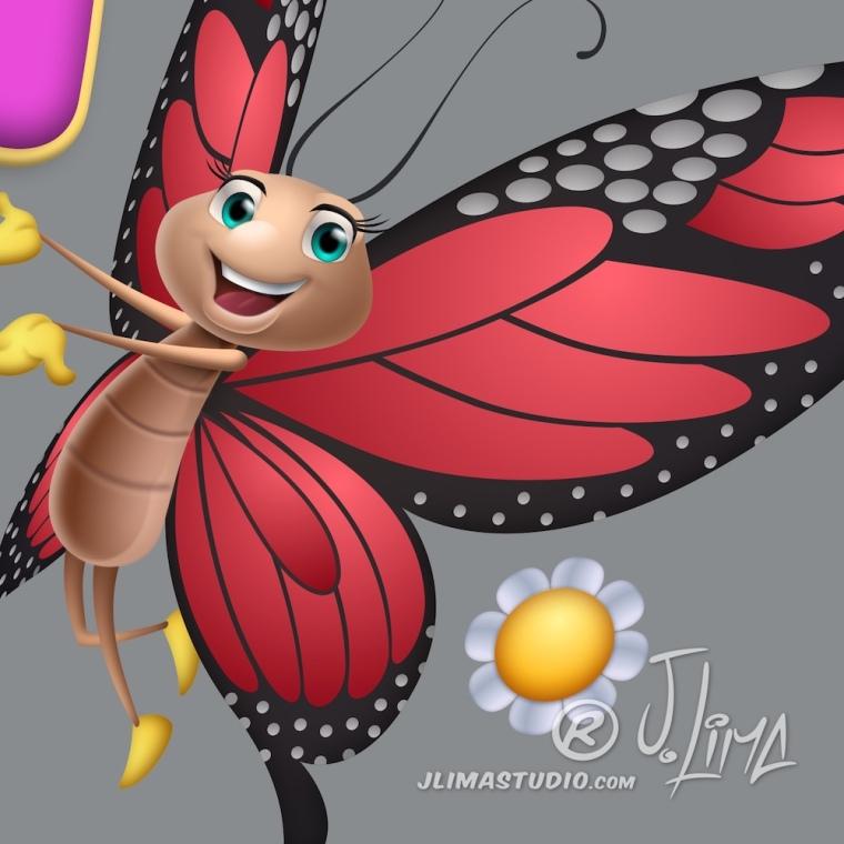 borboleta logo design logotipo mascote personagem flor vida flores jlima desenho ilustração arte art 3d vetor pintura digital concept conceito bortefly sorriso