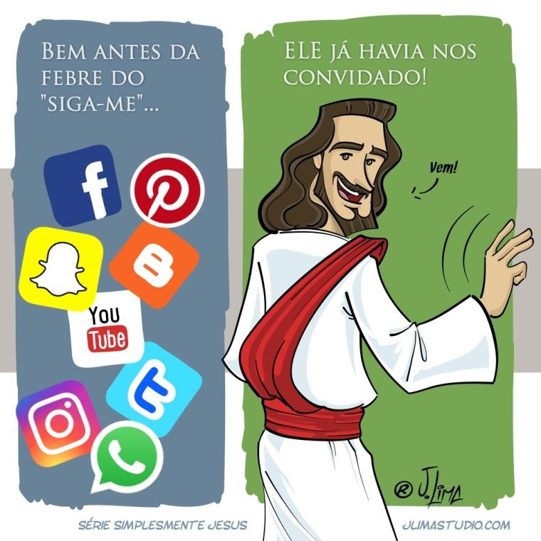 Simplesmente Jesus siga-me charge cartoon jlima
