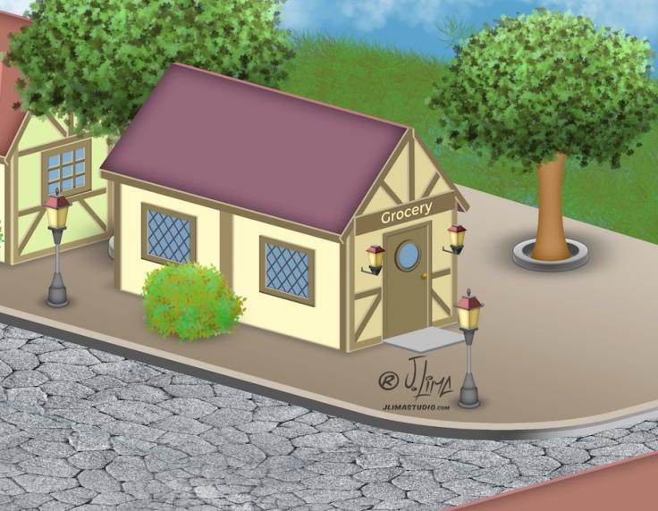 desenho isometrico cenario vila cidade predios sisometric jlima arte ilustração vetor relogio 3d art 2 vilarejo