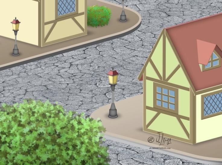 desenho isometrico cenario vila cidade predios sisometric jlima arte ilustração vetor relogio 3d art 3 vilarejo