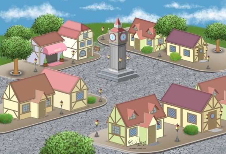 desenho isometrico cenario vila cidade predios sisometric jlima arte ilustração vetor relogio 3d art 4 vilarejo