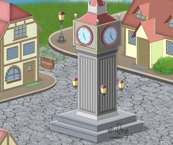 desenho isometrico cenario vila cidade predios sisometric jlima arte ilustração vetor relogio 3d art vilarejo