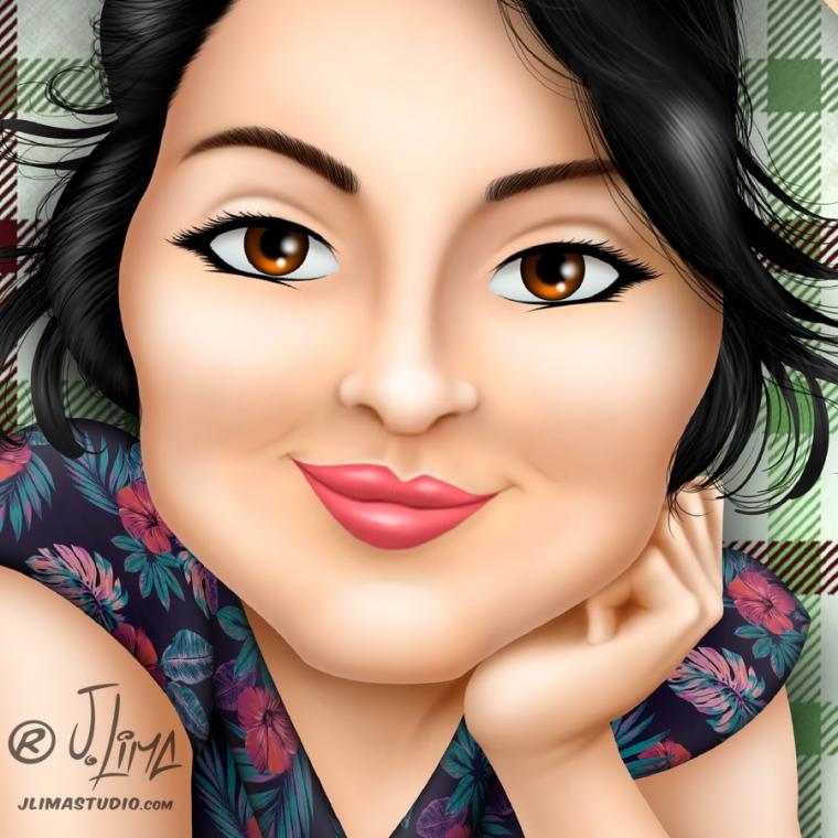 Simonita 1 rosto mascote personagem caricatura logotipo logo design desenho ilustração mulher garota face busto mascote jlima