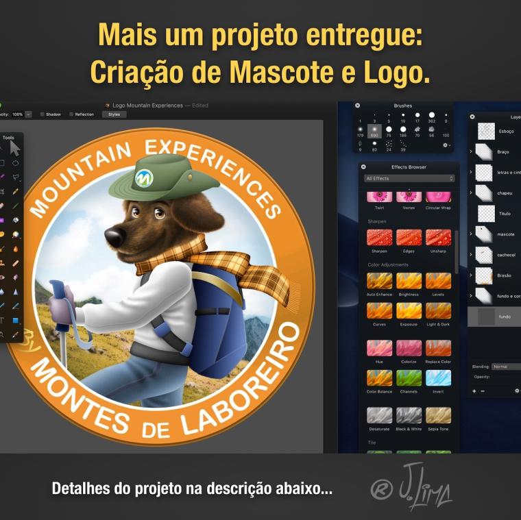 desenho logo design mascote personagem character ilustração jlima 3d cão cachorro dog mountain montanha caminhada logotipo brasao mascot