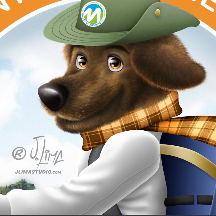 desenho logo design mascote personagem character ilustração jlima 3d cão cachorro dog mountain montanha caminhada logotipo brasao mascot chapeu face cachecol frio escalada